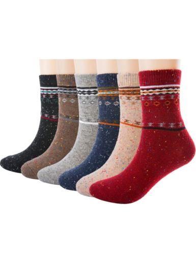 6-Pack-Women-039-s-Merino-Wool-Blend-Winter-Socks-Size-7-9-Patterned-Design-COZY