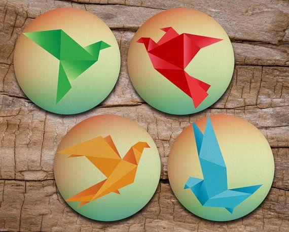 Origami Coaster Set of 4 - Origami Birds - Drink coasters