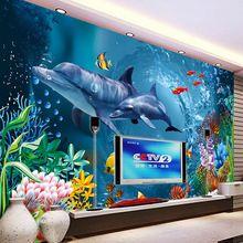 Mundo submarino Wallpaper Océano Delfines Foto Wallpaper Niños Oficina Dormitorio TV Telón de Fondo Mural de La Pared 3D decoración de la Habitación Wallpaper