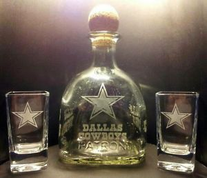 Etched Dallas Cowboys Patron Tequila Bottle and Shot Glass Set | eBay