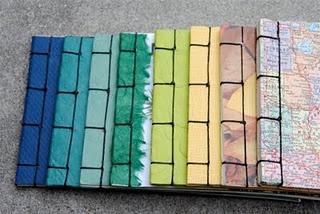 Handmade notebooks created using the japanese stab binding technique