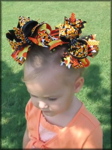 Boutique CANDY CORN HALLOWEEN Hair Bows - Bow Meets Girl