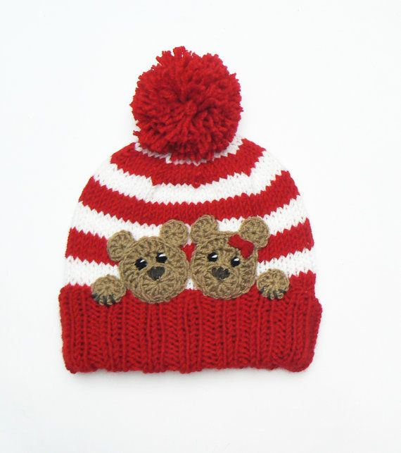 Teddy Bear Applique Crochet Bear Hat Applique Animal by 2mice
