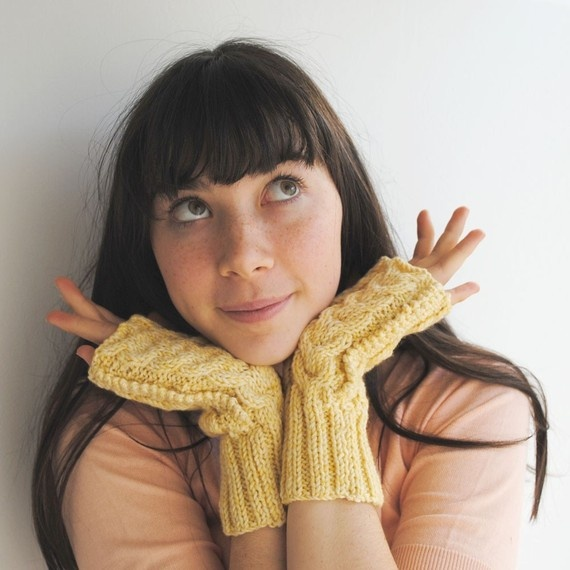 Fingerless Gloves Wool Yellow Warm Hand Knit by twoknit on Etsy