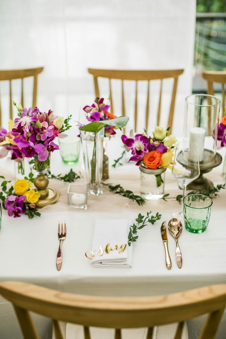 Dinner Tables with Guest's Name placed
