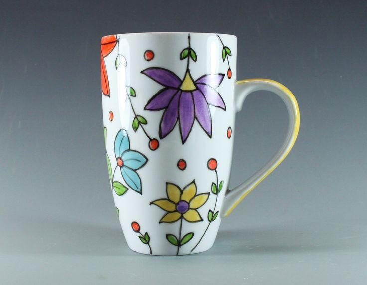 Hand painted latte mug