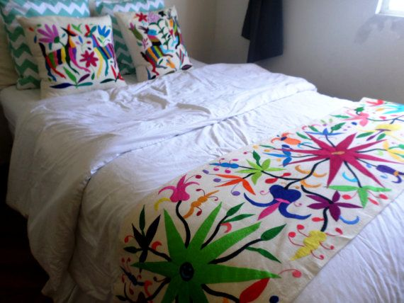 Gorgeous otomi bed runner multicolor hand embroidered by Mexican embroidered bedding