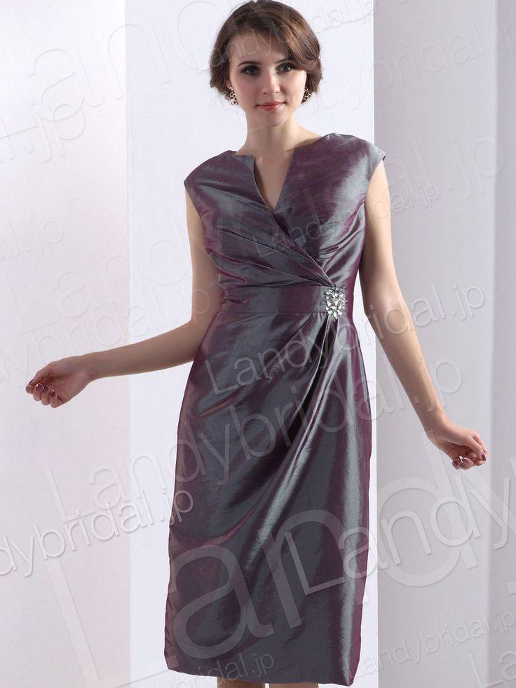 ランディブライダル パーティードレス スレンダー ミディアム丈 アメリカンスリーブ グレー タフタ 二次会ドレス ゲストドレス
