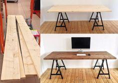 DIY Schreibtisch, Holzbohlen