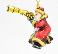 Mikołaj z lunetą - Polskie bombki ręcznie malowane - sklep z ozdobami choinkowymi Komozja Family
