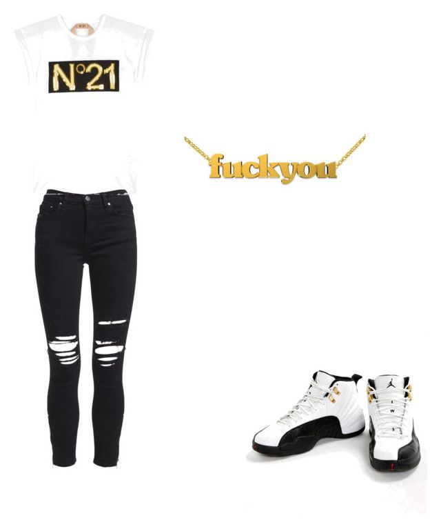 """Black and gold"" by explorer-15097237125 on Polyvore featuring AMIRI, Jordan Brand and N°21"