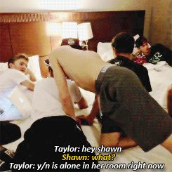 "(RP? Be Shawn) I had just Snapchatted Taylor and told him that I was just  watching TV in my room when suddenly I heard a knock on the door. I open it to see  Shawn standing there with no shirt,  ""Hey."", I try to say casually and try not to blush. ((She has a crush on Shawn but he doesn't know. He has a crush on her too))"