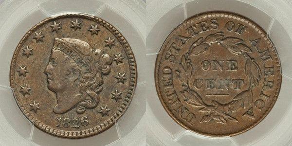 Beautiful and Rare 1826 Matron Head Liberty Head Large Cent PCGS Graded VF35