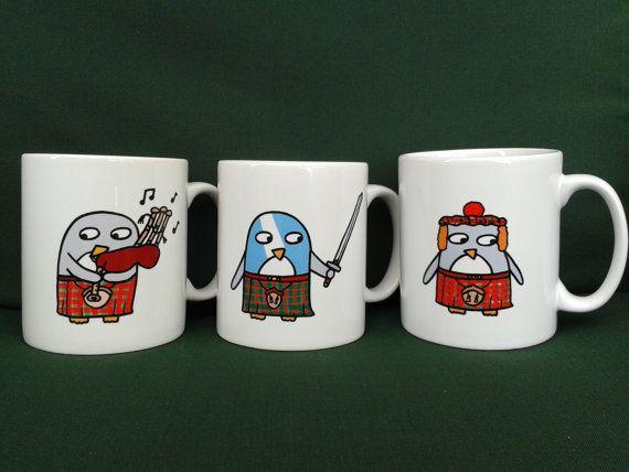 Funny Penguin Mugs  Scottish Gift  Piper by penguinparadeshop