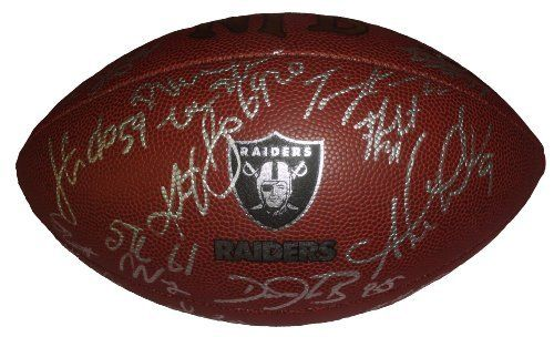 2012 Oakland Raiders Team Autographed Logo Football with 28 Signatures Total, Proof Photos by Southwestconnection-Memorabilia. $159.99. This is a 2012 Oakland Raiders team autographed Raiders logo NFL Wilson composite football. The following Raiders have signed the football in silver paint pen: Darren McFadden, Sebastian Janikowski, Shane Lechler, Brandon Myers, Jacoby Ford, Tyvon Branch, Darius Heyward Bey, David Ausberry, Philip Wheeler, Richard Gordon, Jared Veldheer, Marquet...