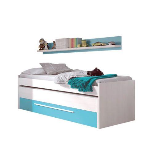 Cama nido juvenil dos camas un cajon y un estante color Blanco Line y Azul, Cyan