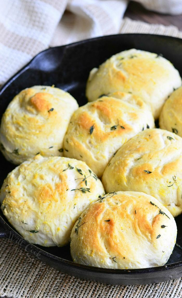 Lemon Thyme Skillet Biscuits from willcookforsmiles.com