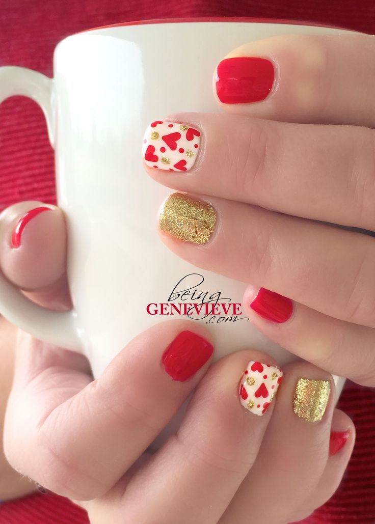 Golden Love   BeingGenevieve.com Red hearts and gold glitter is perfect for this years Valentine nail design!