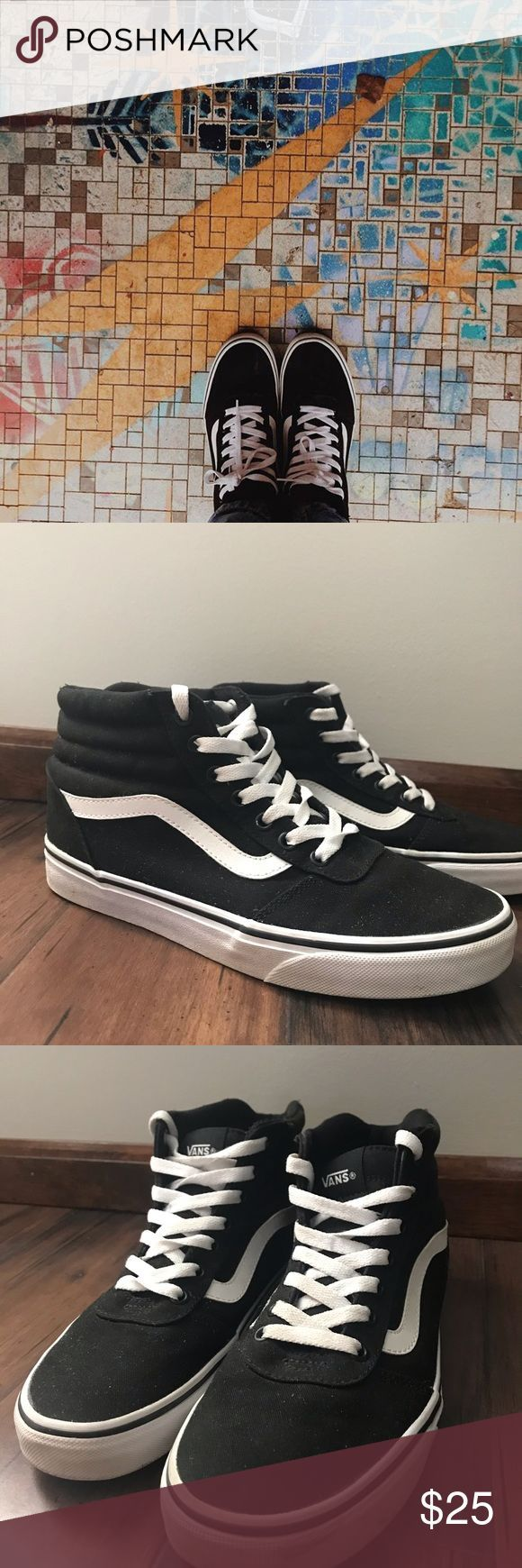 Vans Schuhe Gebrauchte Vans High Top Damen Skateschuhe Schnürschuhe Farbe Schwarz Weiß Größe 9 Fashionshoot Fashionin High Top Vans Vans Skate Shoes