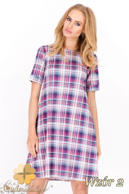 Trapezowa sukienka mini w kratę wyprodukowana przez Makadamia.  #cudmoda #moda #styl #ubrania #odzież #clothes #fashion #glamour #women
