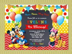 The 25 best Mickey mouse invitation ideas on Pinterest Mickey