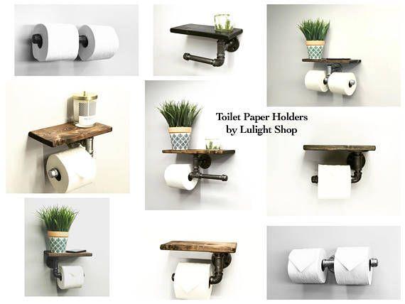 Toilet Paper Holder With Rustic Distressed Shelf, Bathroom Accessories, Farmhouse Decor, Bathroom Pipe TP Holder, Pipe Toilet Paper Storage