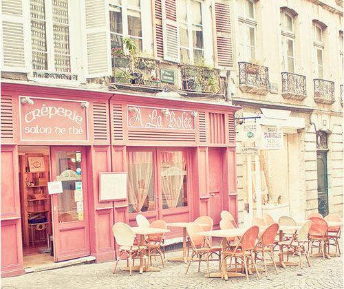 CafePink Pink Pink, Paris, French Cafes, Stores Front, Dreams, Shops, Crepes, Places, Cafes K-Cup