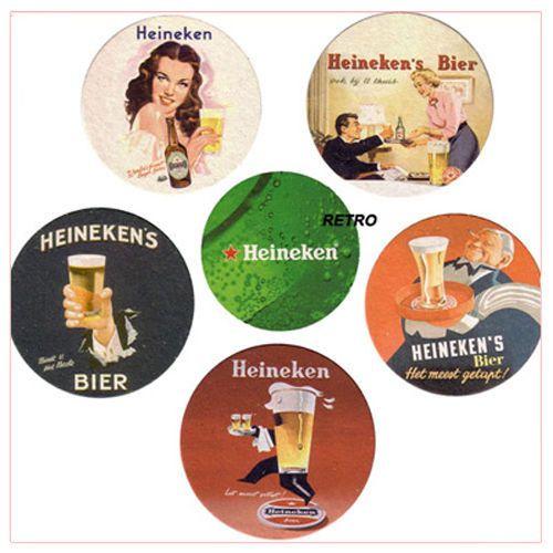 Serie 5 Sottobicchieri Birra Heineken 2008 Old Style nuovi Vintage kit pub bar