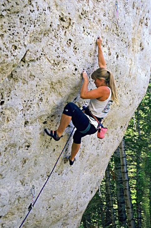 """July 1992. Amy Skinner working towards her FA of """"When I Was a Young Girl, I Had Me a Cowboy""""....the classic (and hard) 5.13a at Wild Iris. Photo:Eric Horst"""