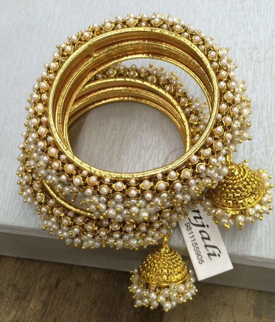 Set of 2: Pearl Jhumka Bangles