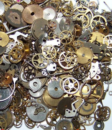 10g-Pieces-Lot-Vintage-Steampunk-Wrist-Watch-Old-Parts-Gears-Wheels-Steam-Punk
