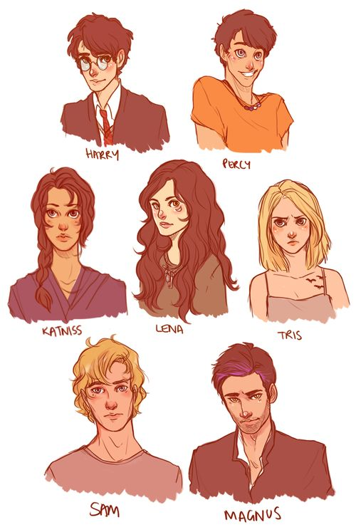 Harry Potter, Percy Jackson, Katniss Everdeen, Lena Duchannes, Beatrice Prior, Sam Temple, and Magnus Bane.