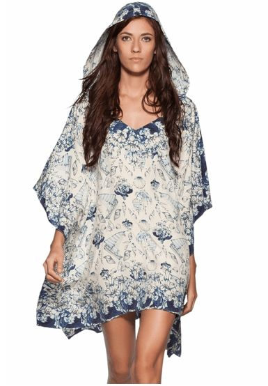 Ocean Print Silk Luxury Travel Tunic by Agua Bendita