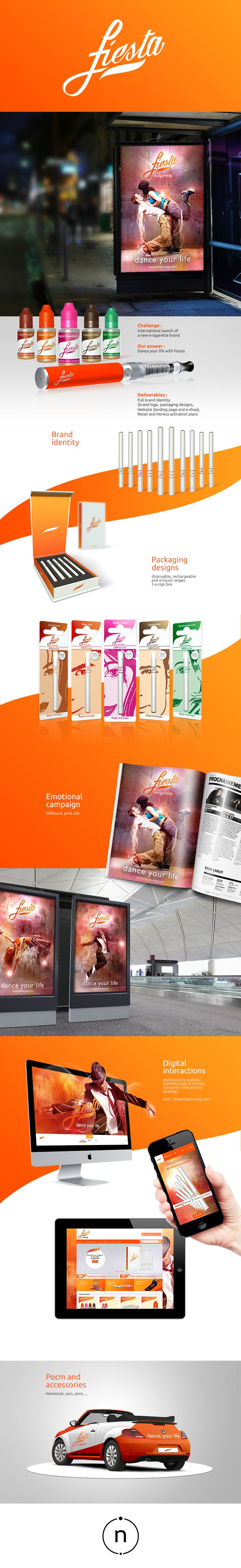 Creation for Fiesta, by Nvision - full brand identity and packaging designs - emotional 'Dance your life' campaign - Digital interactions with a landing page and an e-shop - Visibility items design