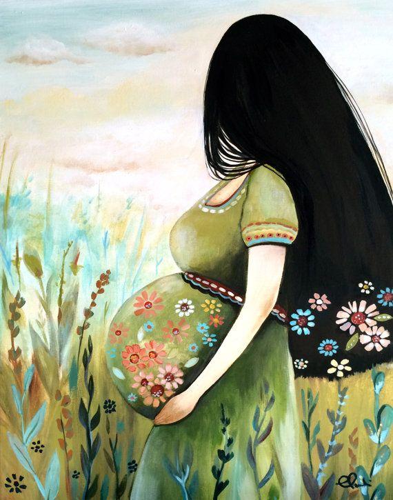 Impresión de arte mujer embarazada por claudiatremblay en Etsy