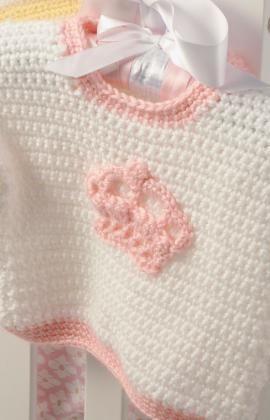 Little Princess Crown Sweater Free Crochet Pattern from Red Heart Yarns