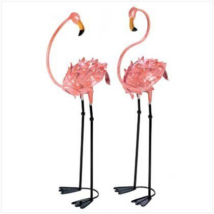 "Flamboyant Flamingo Tropical Iron Home Garden Stakes by Furniture Creations. $49.02. Each is approximately 11"" x 14"" x 41"" high. Brighten your favorite space with a luscious touch of the tropics. These life-sized metal flamingo sculptures make a colorful splash that's a pure delight. Your friends will turn pink with envy! Weight 7.5 lbs. Wrought iron. Some Assembly Required. Each is approximately 11"" x 14"" x 41"" high. Pair"