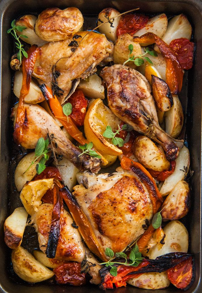 Greek chicken with lemon, wine and oregano (in french, english follows french...)