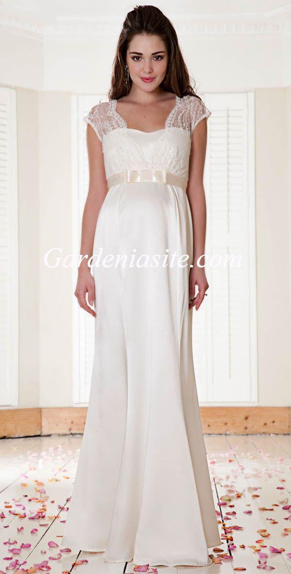 Captivating Empire Square Floor Length Bow Sashes/Ribbons Lace Beading Chiffon Maternity  Wedding Dress 2014   Images