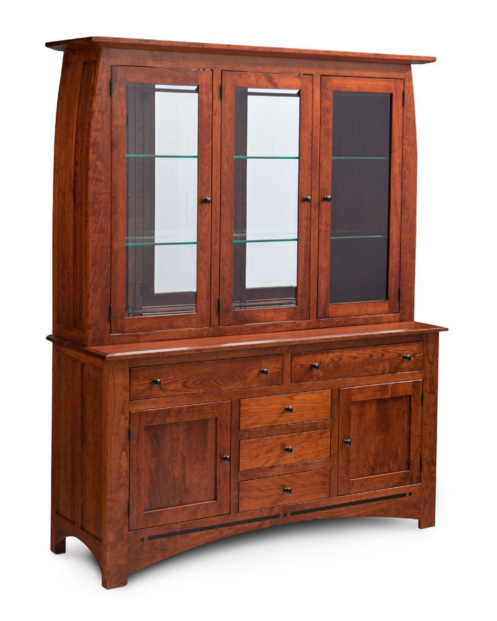 Aspen Hutch, Glass Shelves, Mirrored Back, Light System, Cherry Michaelu0027s  From Simply Amish Furniture