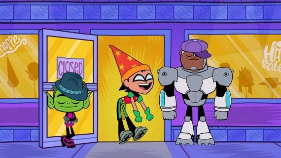 Here's a new image from Cartoon Network's upcoming Teen Titans Go! series. We hope it's an entire episode of hat shopping.