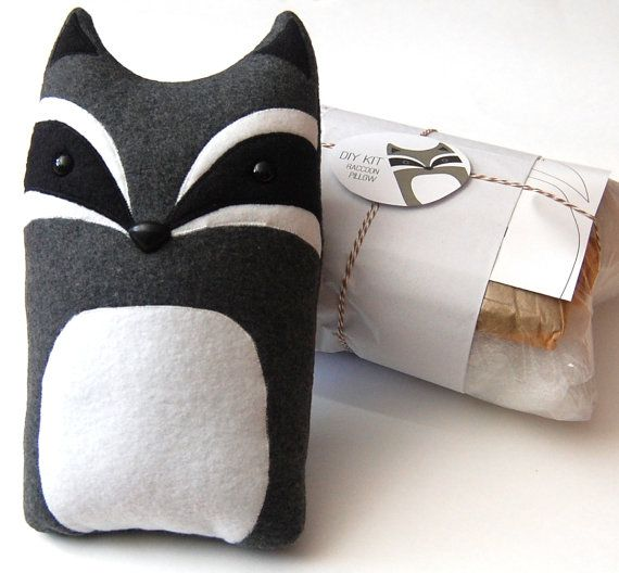 DIY Kit Raccoon Woodland Pillow Plush - Fleece Fabric Animal Plushie - Do It Yourself Craft for Children and Adults - Make Your Own Racoon