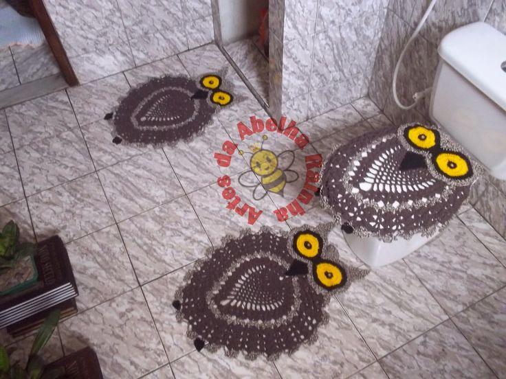 Crochet bathroom set ❤️LCB-MRS❤️ with picture instructions ---  Artes da Abelha Rainha: Jogo de banheiro coruja de crochê
