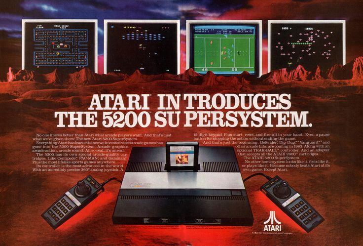 The Atari 5200 SuperSystem, commonly known as the #Atari5200, is a home video game console that was introduced in 1982 by Atari Inc. as a higher-end complementary console for the popular #Atari2600. The 5200 was created to compete with the #Intellivision, but wound up more directly competing with the #ColecoVision shortly after its release.
