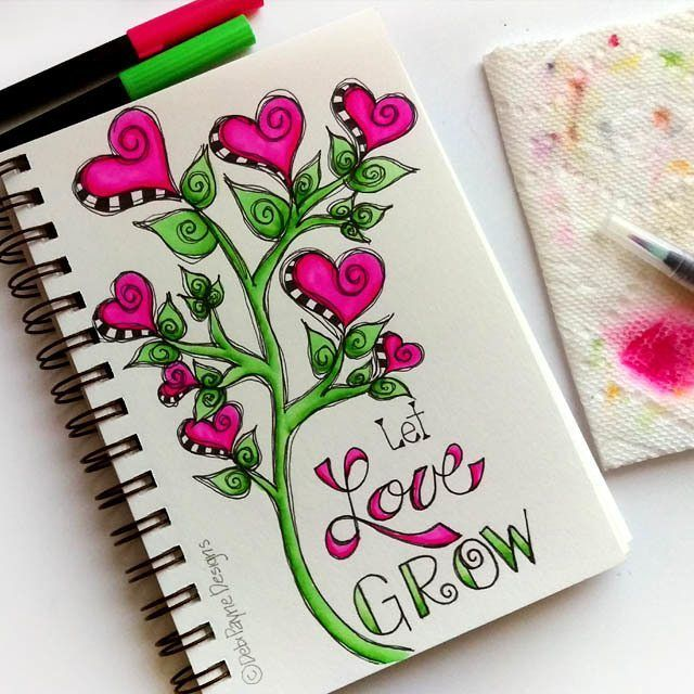 Let Love Grow!  #watercolor #tombow #handlettering #doodleart #happyart #debipaynedesigns