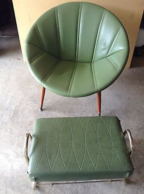 Vintage Mid Century Pearl Wick Foot Stool And Pod Chair Green Retro Atomic