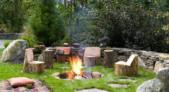 Tree stump seating. Very rustic.