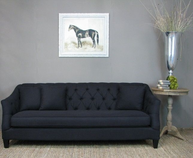 Our gorgeous and generous 3 seater Sofa Maud is upholstered in a black Linen blend fabric with tufted back and includes 3 back cushions. #frenchinspired