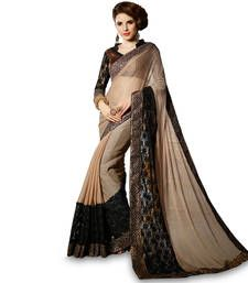Buy Anjali Beige Embroidered Jacquard saree With Blouse jacquard-saree online