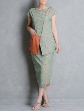 Green-Orange Ikat Cotton Tunic by Indian August